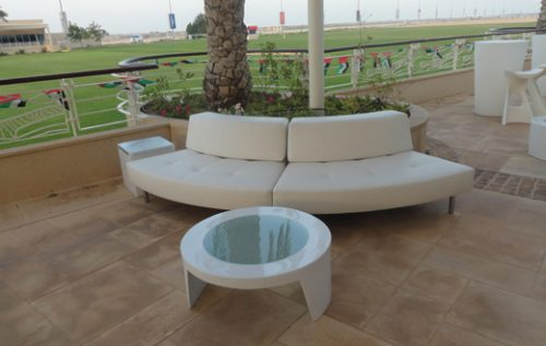 endless curved sofa with small low back - 5 seater - event ...