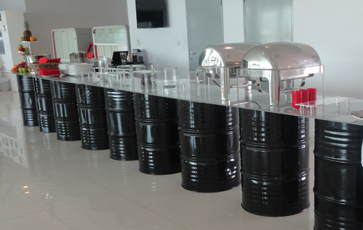 Oil Drum Table Black Event Rentals