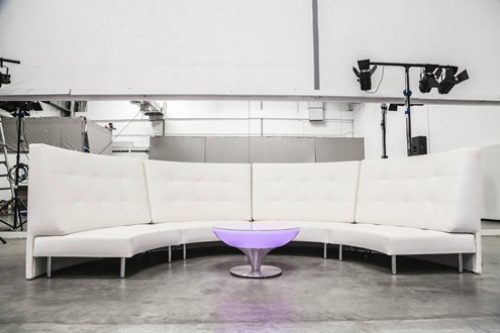 endless curved sofa with large high back - 8 seater