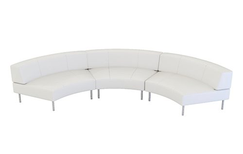 white large curve low back sofa (3 units) to seat 6 people