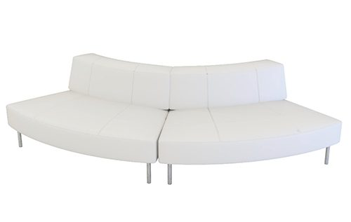 white small curve low back sofa (2 units)